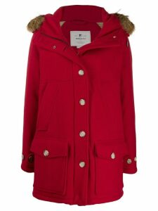 Woolrich short hooded coat - Red