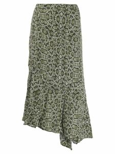 Essentiel Antwerp snakeskin print asymmetric skirt - Green