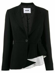 MSGM asymmetric single-breasted blazer - Black