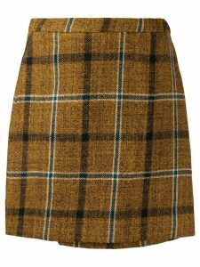 Roberto Collina mini check pattern skirt - Brown