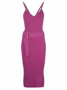 Nicholas ribbed design dress - PURPLE