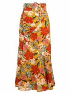 Nicholas floral print skirt - ORANGE