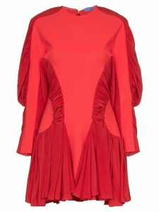 Mugler ruched sleeve pleated mini dress - Red