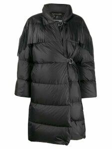 Ermanno Scervino leather fringe puffer coat - Black