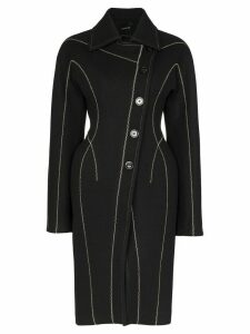 Mugler hourglass stitched long coat - Black