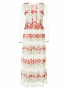 Red Valentino floral panels long dress - White