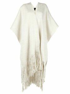 Voz fringed cardi-coat - White