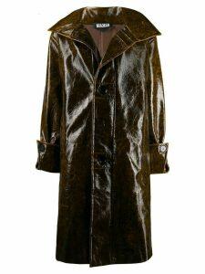 Miaoran wet-look single breasted coat - Brown
