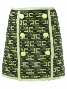 Elisabetta Franchi buttoned logo-pattern skirt - Black