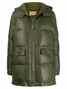 Yves Salomon Army leather puffer coat - Green