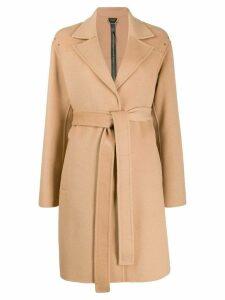 LIU JO stud-embellished belted coat - Neutrals