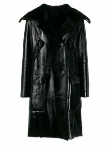 Yves Salomon double-breasted leather coat - Black