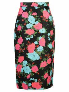 Erdem floral print fitted skirt - Black