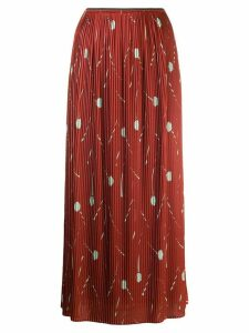 Odeeh pleated straight skirt - Red