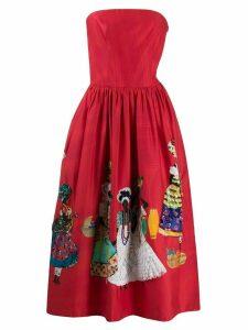 Stella Jean strapless embellished skirt dress - Red
