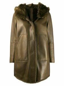 Yves Salomon hooded shearling coat - Green