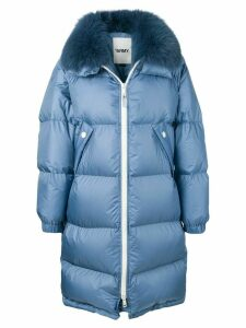 Yves Salomon Army oversized fur-trimmed coat - Blue
