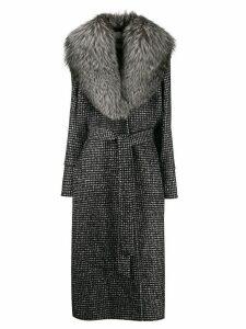 Dolce & Gabbana fur collar houndstooth print coat - Black