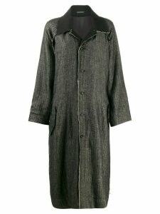Yohji Yamamoto distressed-detail oversized coat - Black