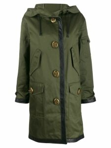 Coach long leather trim parka - Green