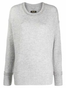 Max & Moi Brilliant embellished-neck sweater - Grey