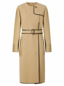 Burberry lambskin trim technical wool belted dress - NEUTRALS