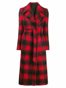 Tagliatore check-print belted coat - Red