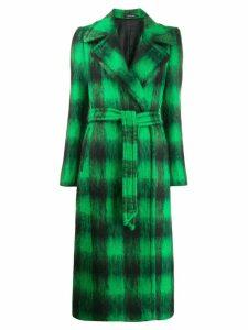 Tagliatore check-print belted coat - Green