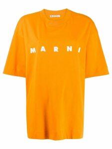 Marni logo print oversized T-shirt - Orange