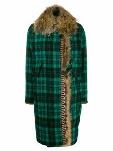 Bazar Deluxe fur lined cocoon coat - Green
