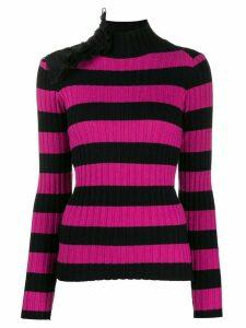 Gina ruffle-embellished striped jumper - Black