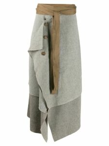 Cherevichkiotvichki asymmetric Blanket skirt - Brown