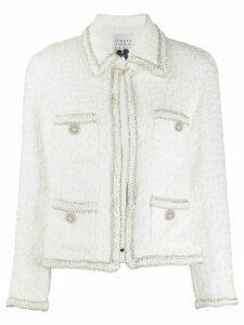 Edward Achour Paris bouclé knitted blazer - White