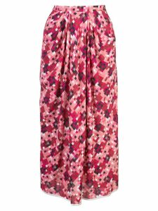 Marni pixel print pleated midi-skirt - Pink