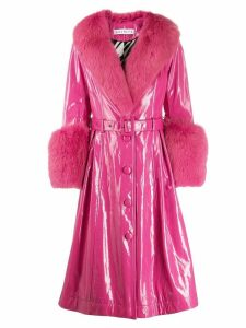 Saks Potts belted glossy-effect trench coat - Pink