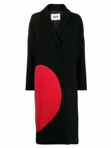 MSGM broken heart motif midi coat - Black