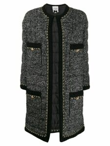 Edward Achour Paris mottled weave longline blazer - Black