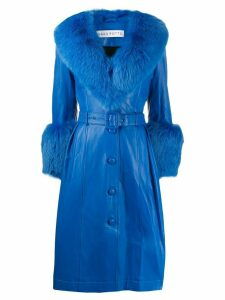 Saks Potts Foxy long belted coat - Blue