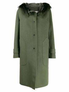 Manzoni 24 fur trim hooded coat - Green