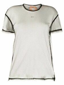 Nº21 mesh overlay T-shirt - White