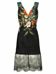 One Vintage embroidered floral fitted dress - Black