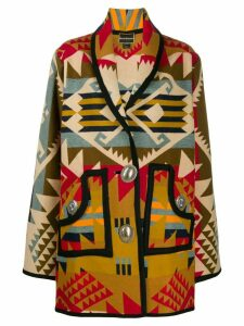 Jessie Western Concho oversized printed coat - Neutrals
