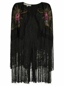One Vintage Embroidered fringed kimono - Black