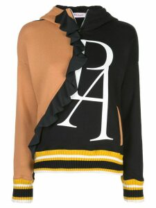 Palm Angels ruffle detail logo hoodie - Black