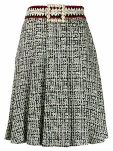 Edward Achour Paris faux-pearl buckle skirt - Blue