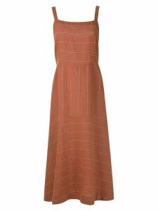 Osklen striped Mix midi dress - Orange