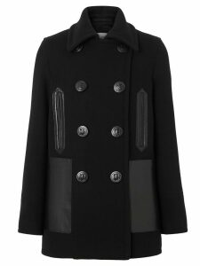 Burberry leather pockets peacoat - Black