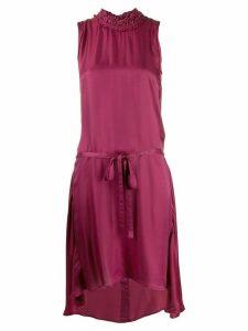 Ann Demeulemeester high ruffled neckline dress - Red