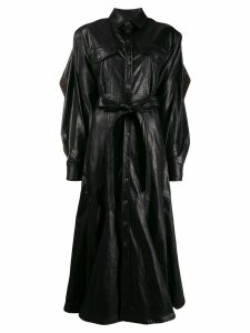 Y/Project contrast trim belted coat - Black