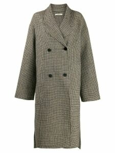 Odeeh plaid double-breasted coat - Brown